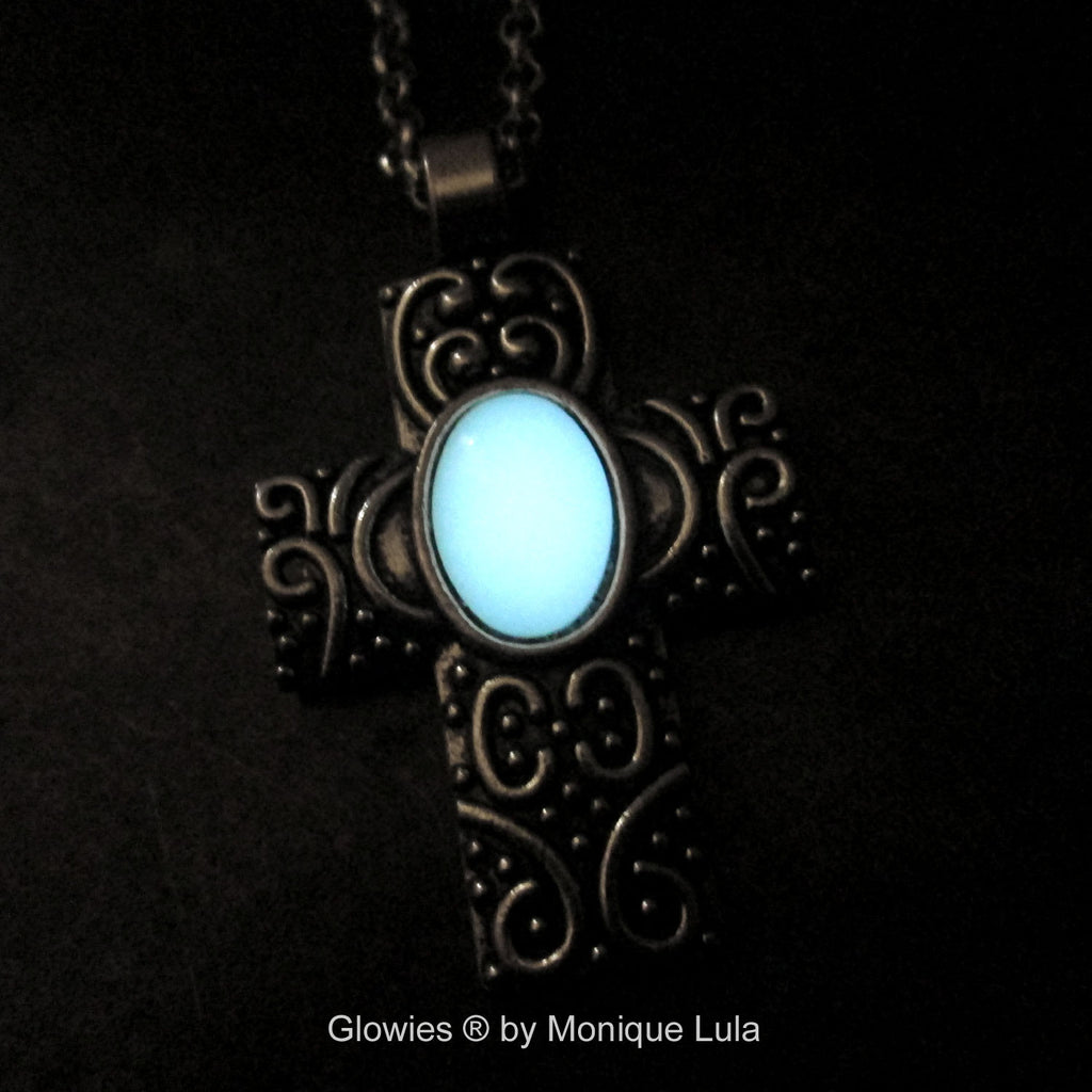Cross with Oval Glow Stone Necklace