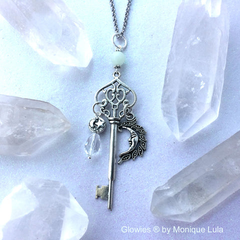 Key with Crescent Moon & Stars Crystal Glow Glass Necklace