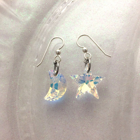 Aurora Borealis Genuine Swarovski Moon and Star Crystal Earrings