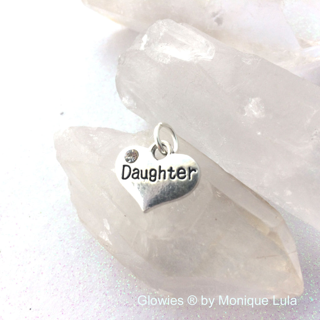 Daughter Heart with Crystal Charm