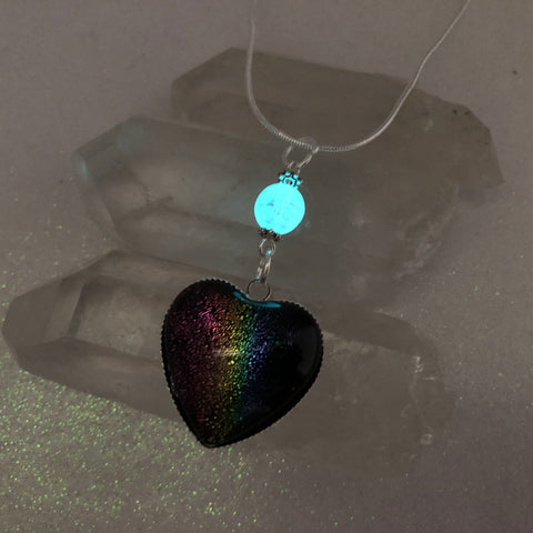 Dichroic Rainbow Glass Heart with Glow Glass Necklace