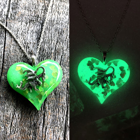 Silver Dragon inside Lula Heart glow in the dark necklace