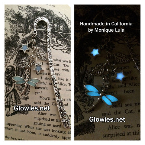Glowing Dragonfly with Stars & Leaves Victorian Bookmark