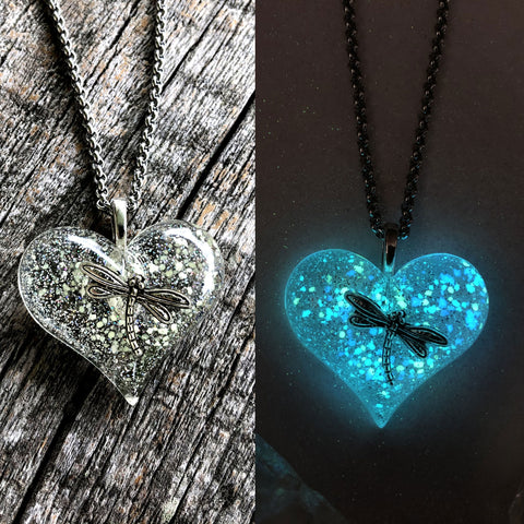 Dragonfly Lula Heart Glow in the dark necklace