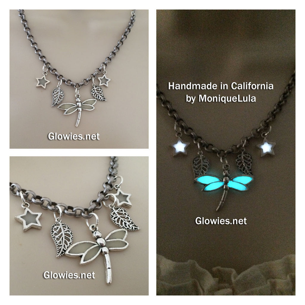Dragonfly in the Garden of Starlight Glow Necklace