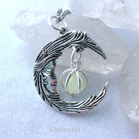 Crescent Moon Man Face With Caged Orb Glow Locket Silver