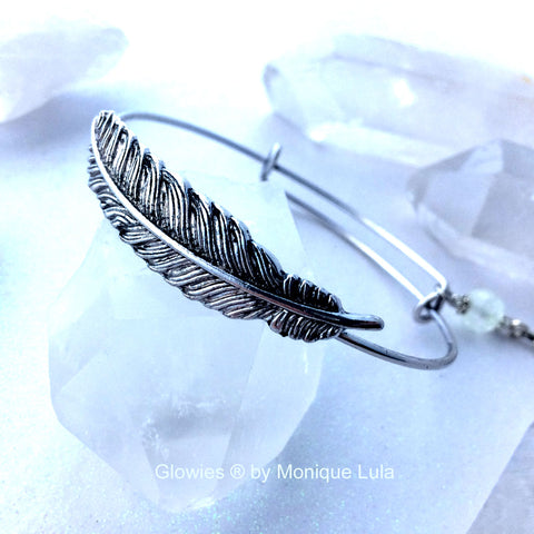 Adjustable Feather Bangle Bracelet with Feather Charm