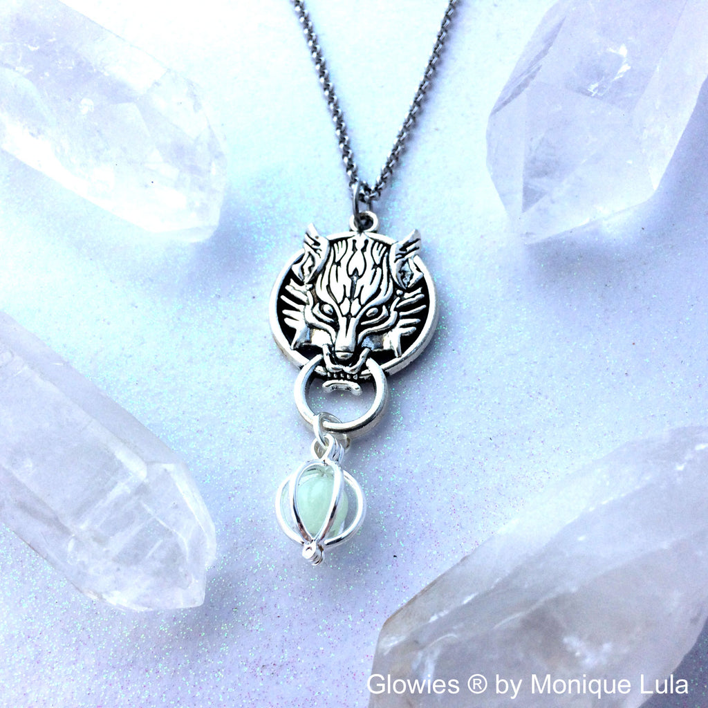 Fenrir Wolf Orb Cage Glowing Locket Materia Necklace