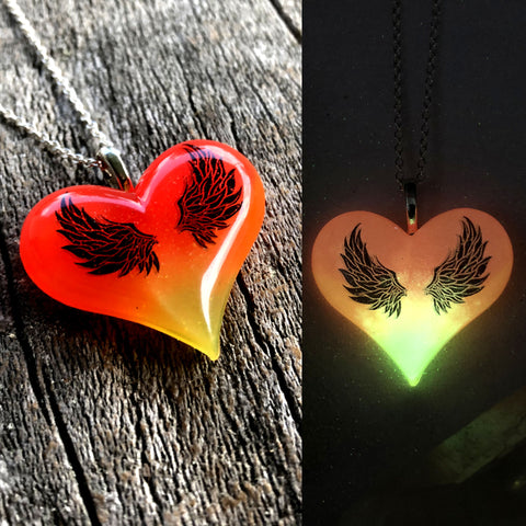 Lula Heart with Black Wings Glow Necklace