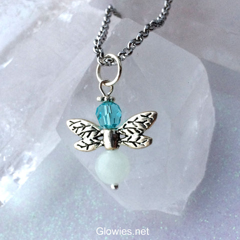 Birthstone Crystal Firefly Glow in the Dark Necklace