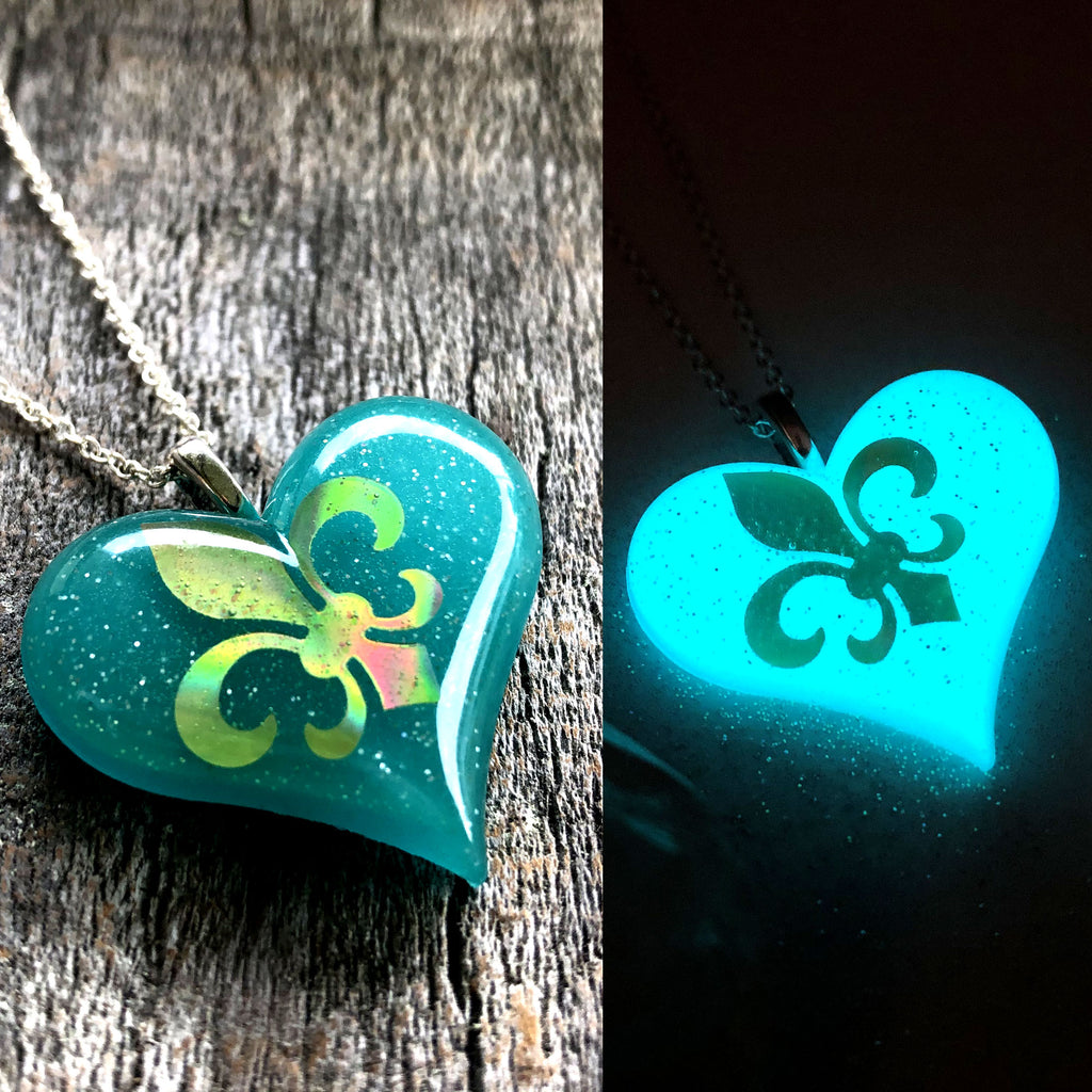 Fleur De Lis Glow in the Dark Lula Heart Necklace