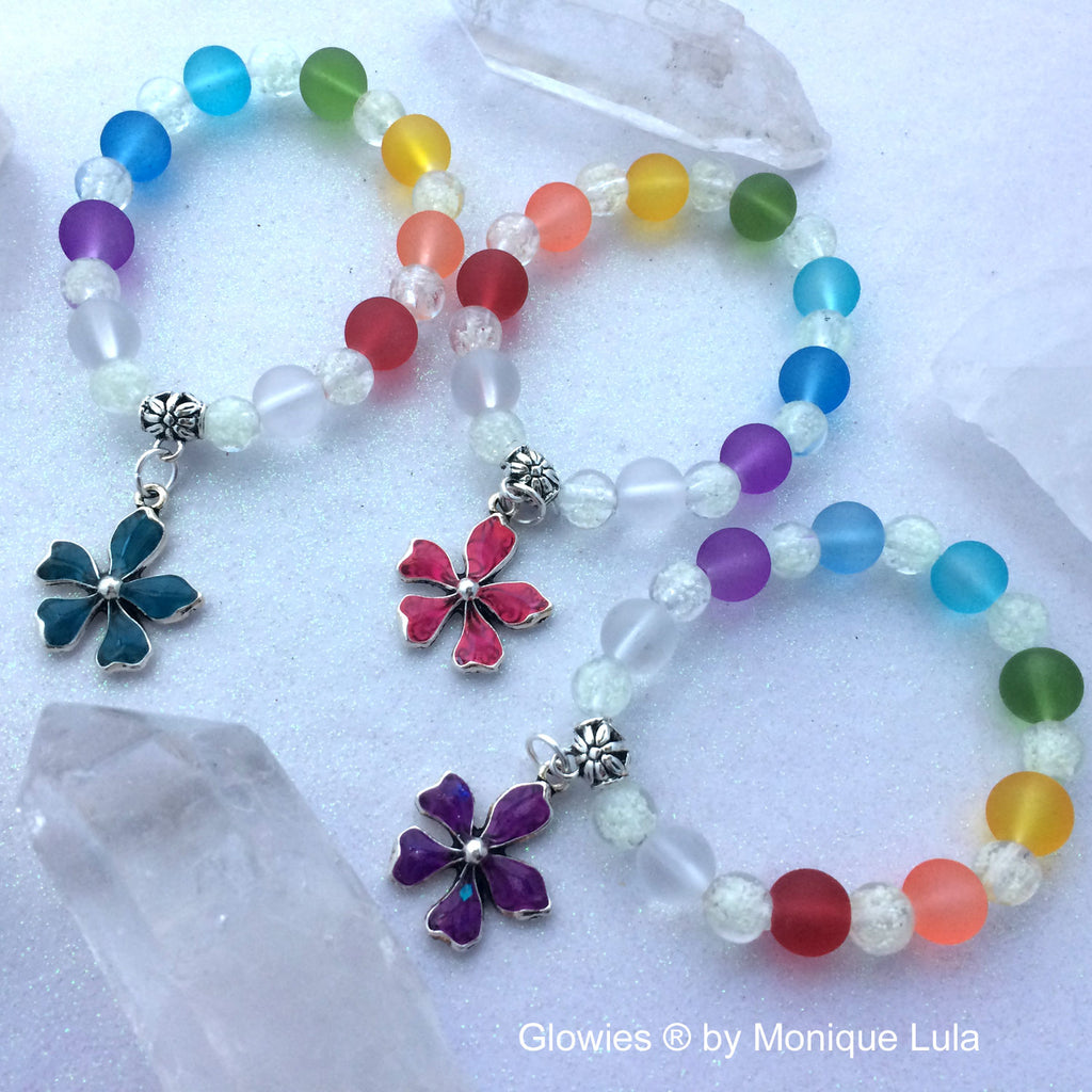 Glow Flower Galaxy Glass Stretch Bracelet