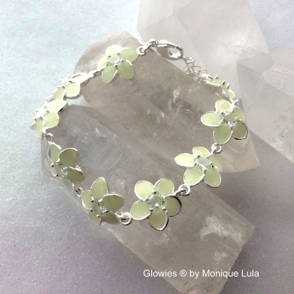 Handmade Glow Flower Bracelet with extender chain