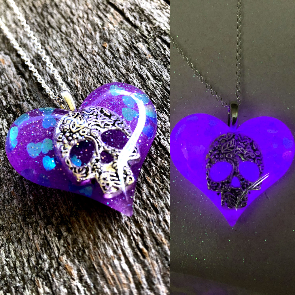 Skull Glow in the dark Lula Heart Necklace