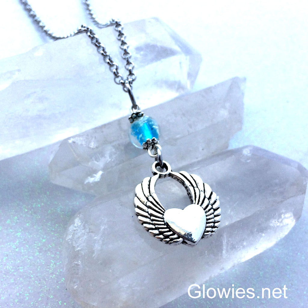 Flying Heart with Wings Galaxy Glow Glass Necklace
