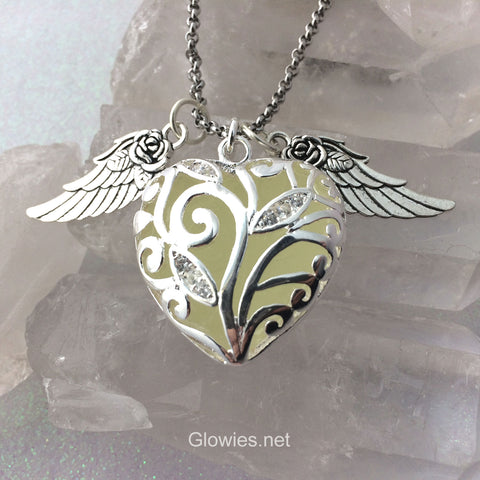 Flying Rose Wing Glowing Heart of Winter Necklace