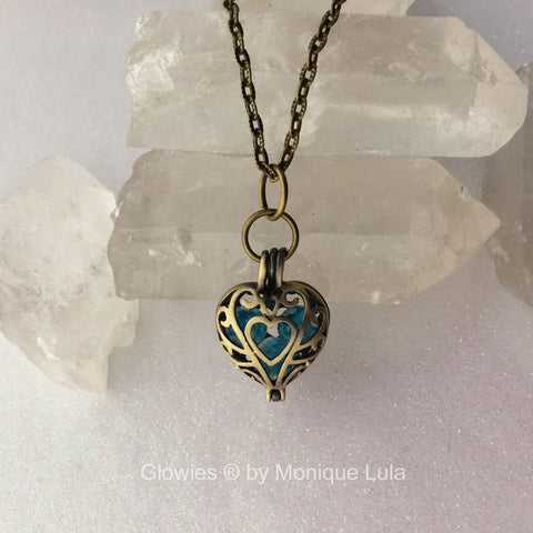 Frozen Galaxy Heart Orb Glass Glowing Locket Necklace
