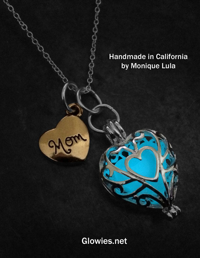 Glow in the dark Mom Heart Glow Necklace Gift Set