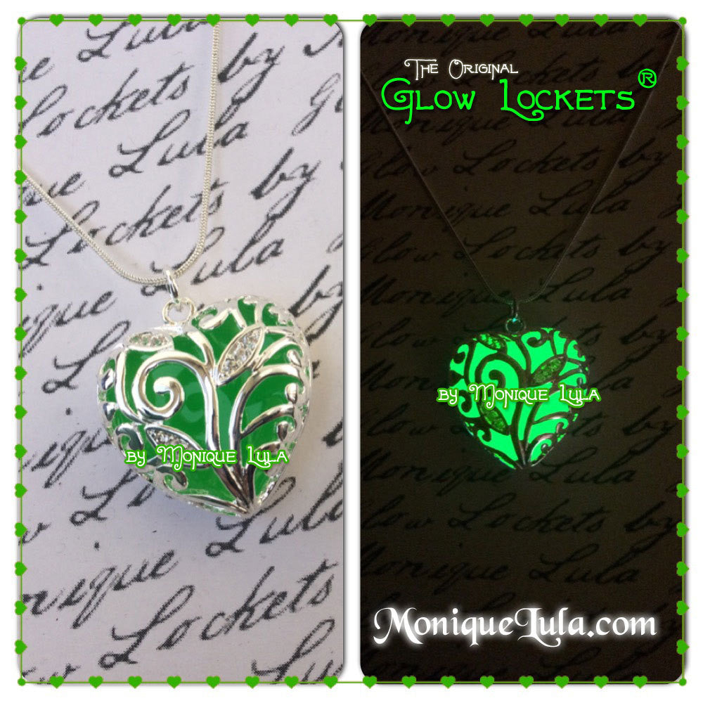 Lucky Green Glowing Heart of Winter Necklace