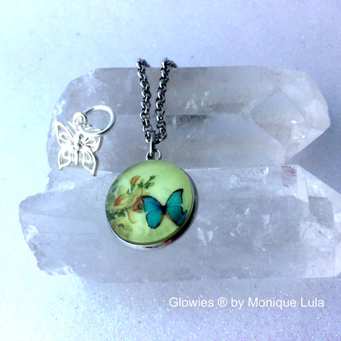Butterfly Glow Glass Necklace with Free Charm