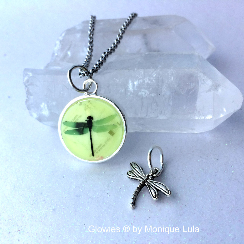 Dragonfly Glow Necklace with Dragonfly Charm