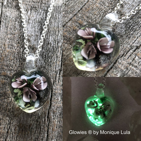 Glass Flower Heart Galaxy Glow Glass Necklace