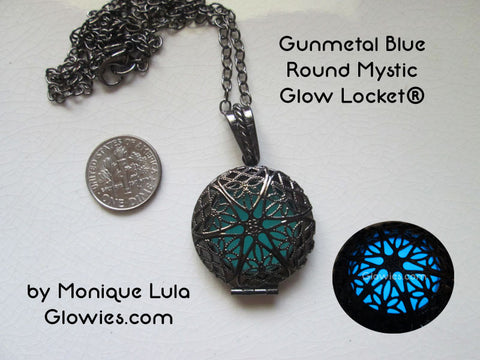Gunmetal Blue Round Mystic Glow Locket®