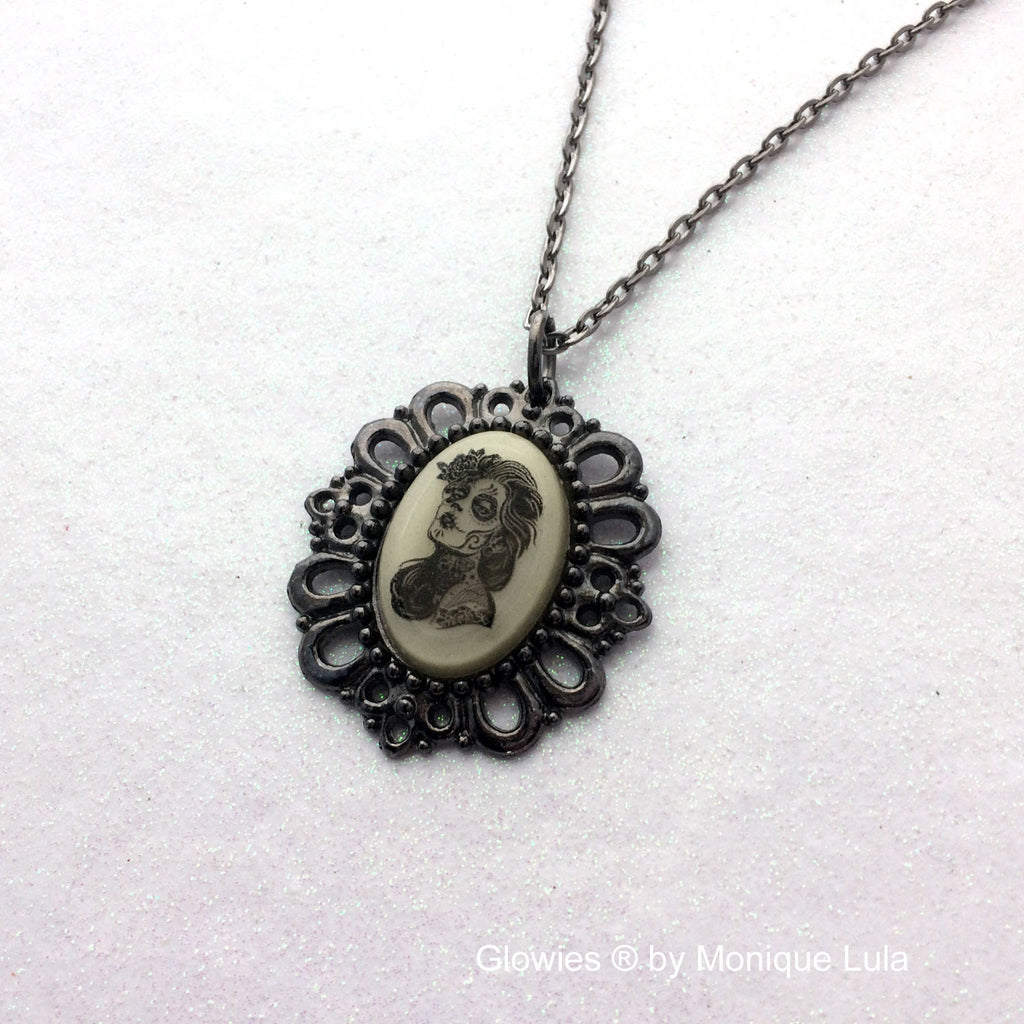 Day of the Dead Girl Gun Metal Glow Oval Necklace