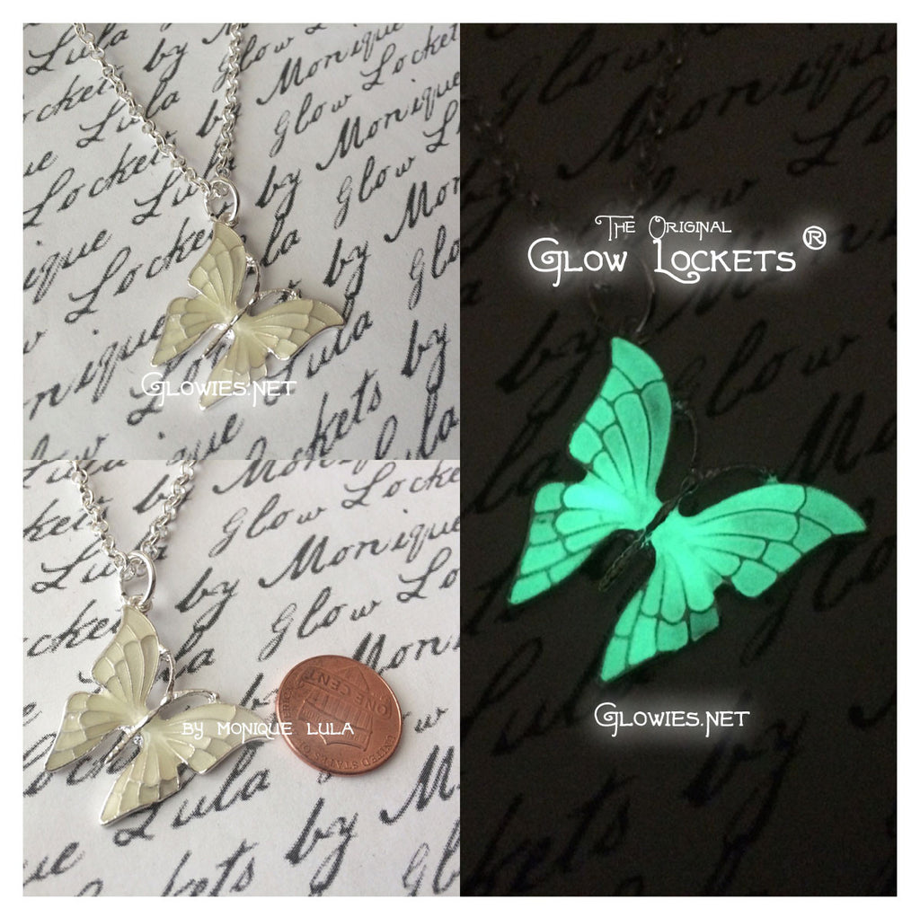 Green Butterfly with Glowing Wings Necklace