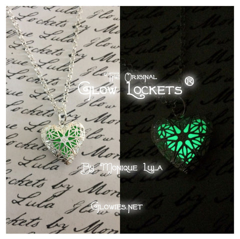Green Heart Glow Locket ® Silver Plated Filigree
