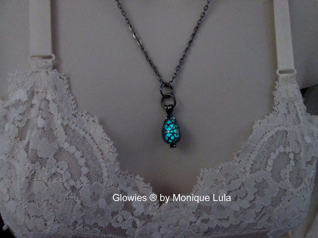 Gun metal Tear drop Cage Glow Locket ™