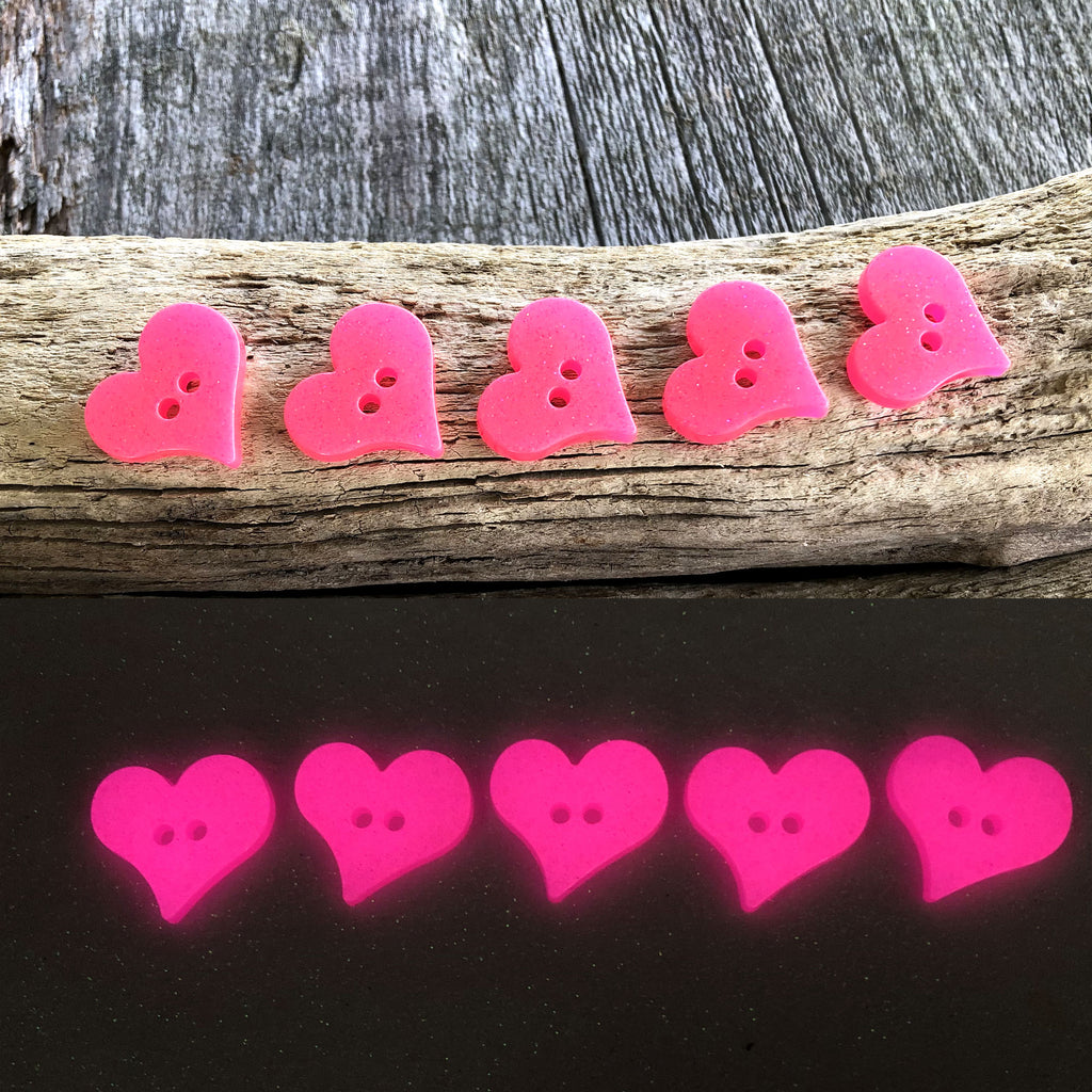 Heart Glow in the dark Buttons