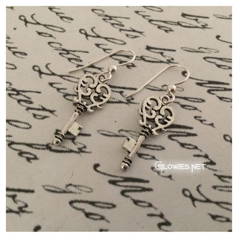 Heart Key Earrings