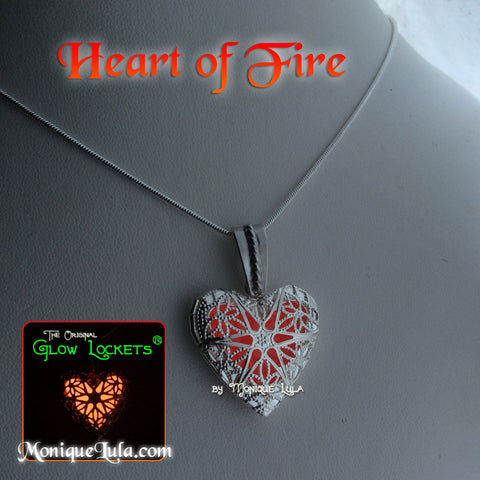 Heart of Fire Red Glowing Locket Necklace