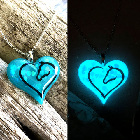 Horse Lover Glow in the Dark Lula Heart Necklace