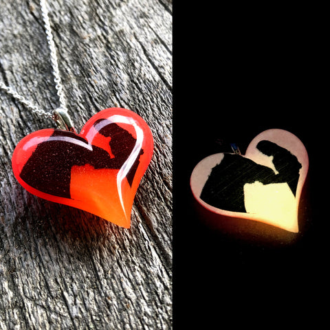Horse & Woman Glow in the dark Lula Heart Necklace