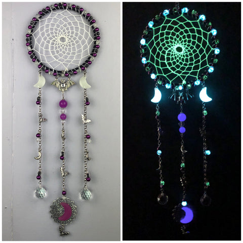 Purple Glow in the Dark Bat Dreamcatcher Suncatcher