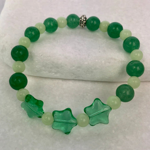 Green Aventurine Stars Beaded Glowie Bracelet