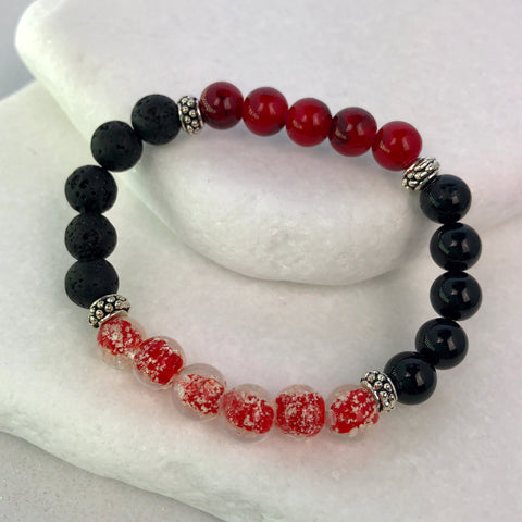 Red and Black Jade and Lava Beaded Bracelet