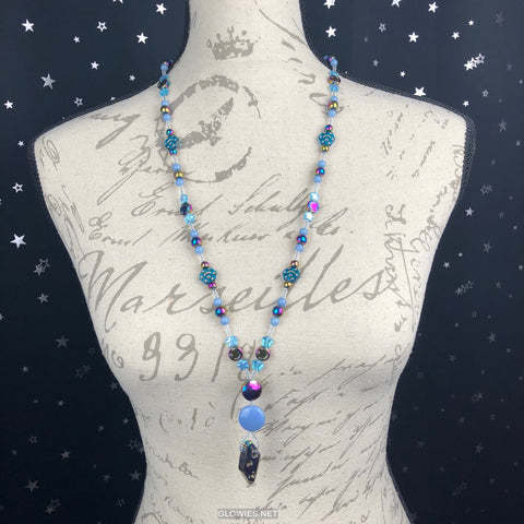 Rainbow Hematite and Quartz Moon and Star Long Beaded Necklace