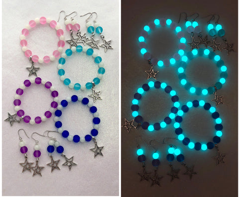 Frosted Glass Star Bracelet and Earrings Set