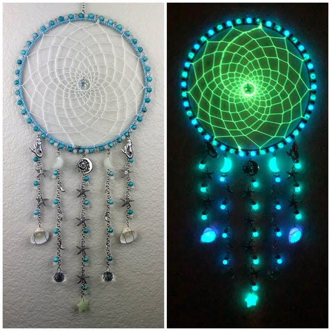 Blue Turquoise Howlite Moon and Star Glowie Dreamcatcher