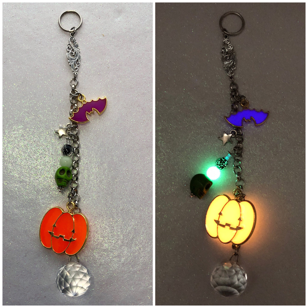 Halloween Jackolantern Bat and Skull Suncatcher Glow in the Dark
