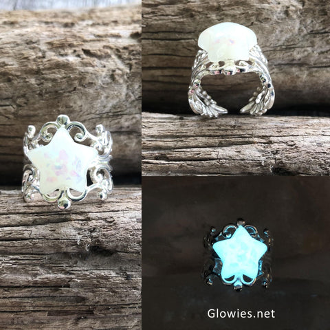 White Opal Glow Star Silver Plated Adjustable Ring