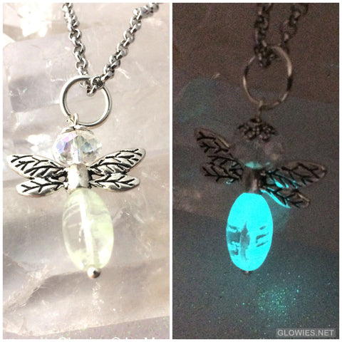 Glowing Beaded Glass Crystal Firefly Necklace