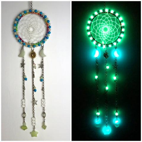 Moon and Star Rainbow Glowie Crystal Dreamcatcher