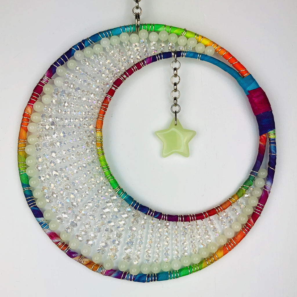 Crystal Beaded Rainbow Moon Glowies Decor