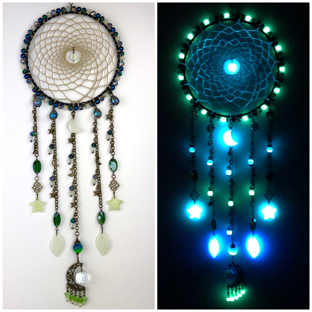 Aurora Borealis Glowie Moon and Star Dreamcatcher