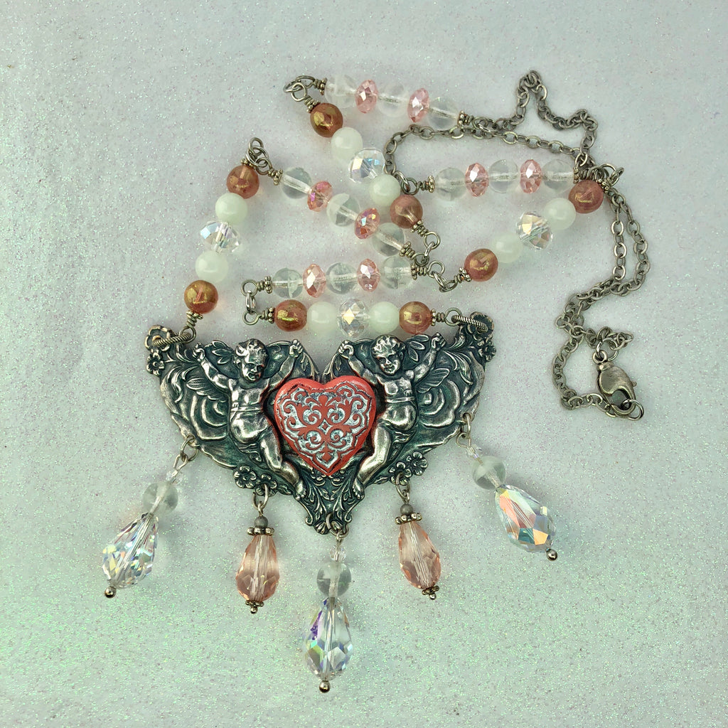 Victorian Cherubs Pink Crystal Long Glowie Necklace
