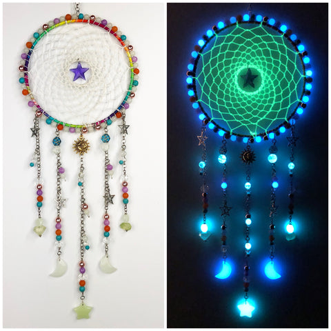 Rainbow Moon and Star Glowie Dreamcatcher 7 inch